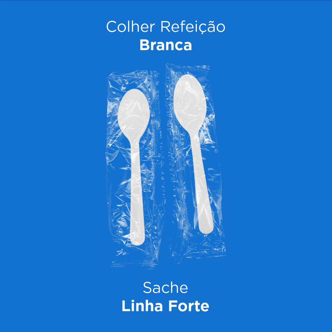 Colher Refeição Branca - Linha Forte Sache - 500 Unidades