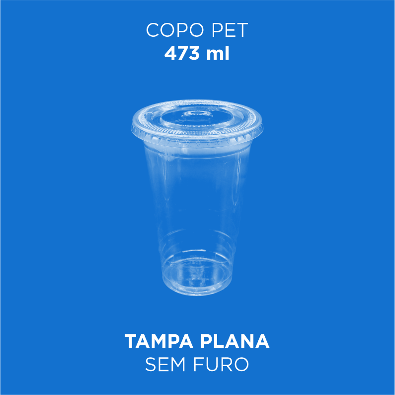 Copo PET com Tampa Bolha  473ml