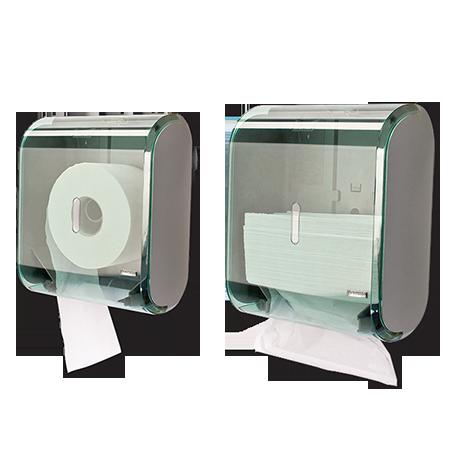 Dispenser múltiplo para papel higiênico rolão (300m) ou papel toalha interfolha - Verde