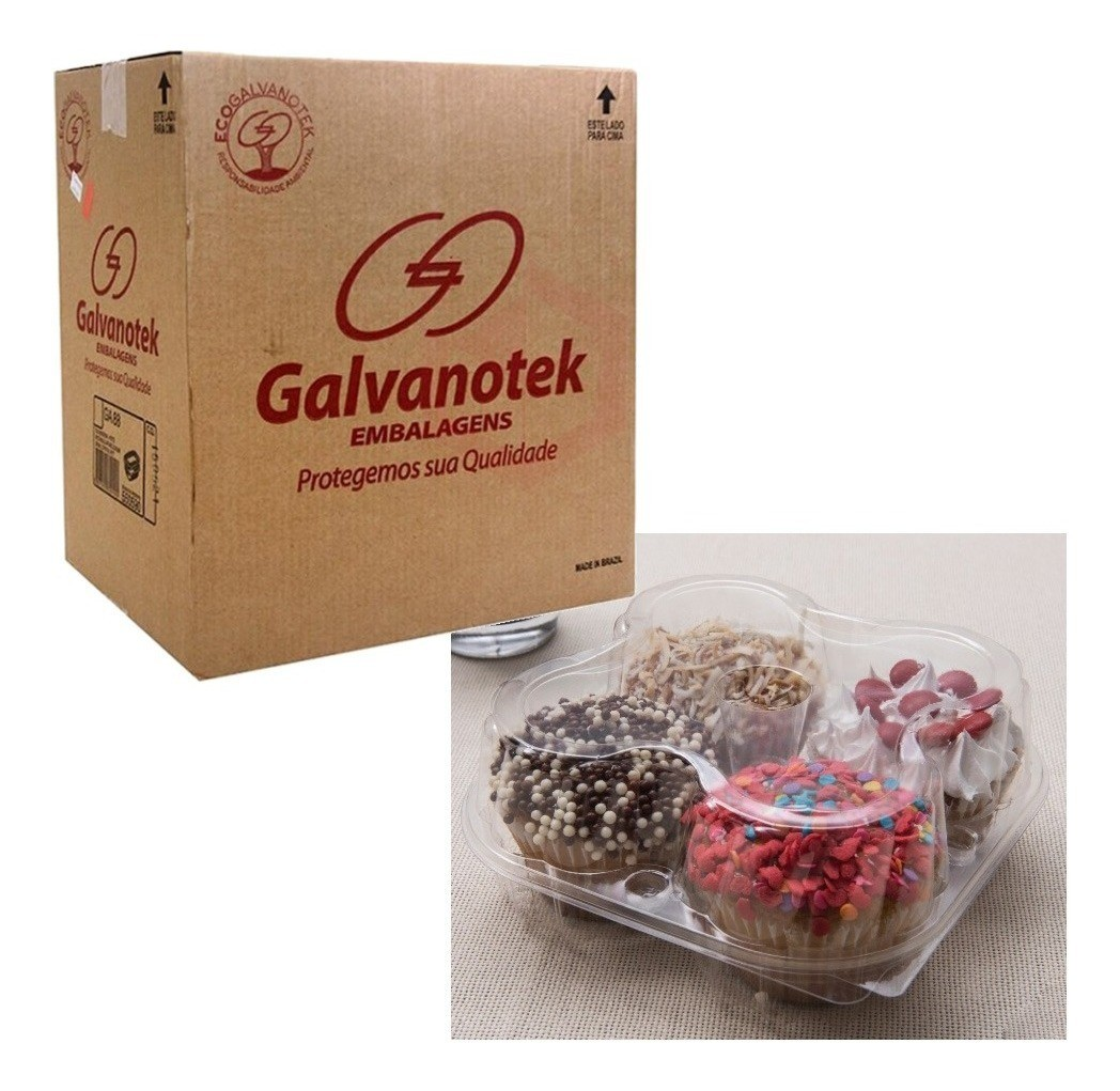 Embalagem para 4 Cupcake caixa 100 unidades