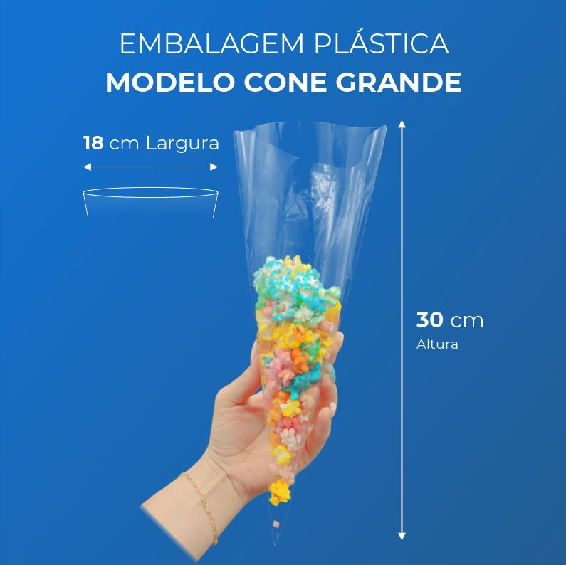 Embalagem Plásticas Modelo Cone Grande - 100 Unidades