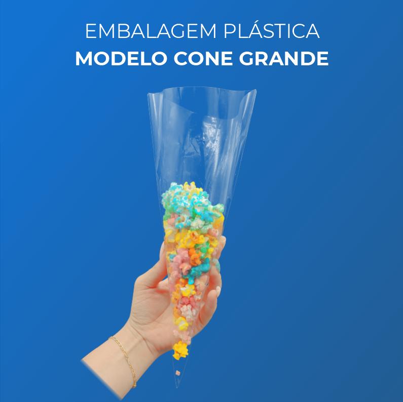 Embalagem Plásticas Modelo Cone Grande - 300 Unidades