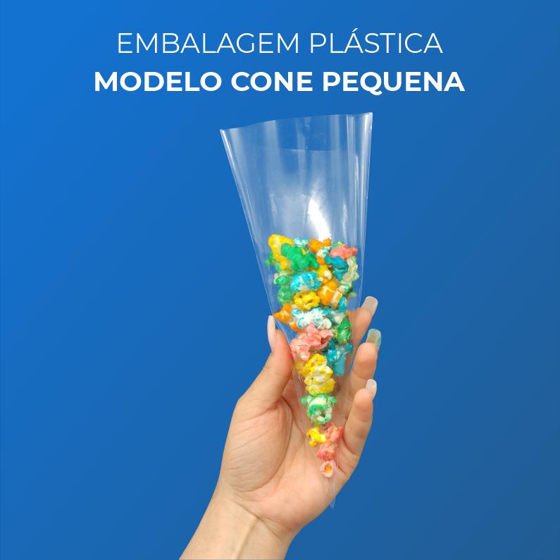 Embalagem Plásticas Modelo Cone Pequena - 100 Unidades
