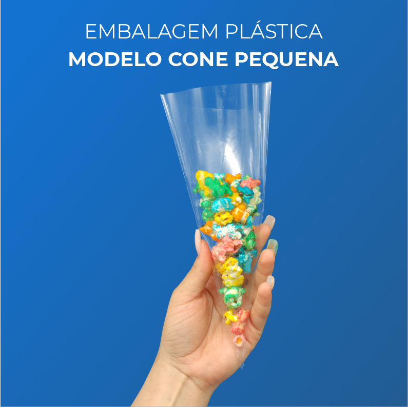 Embalagem Plásticas Modelo Cone Pequena - 500 Unidades