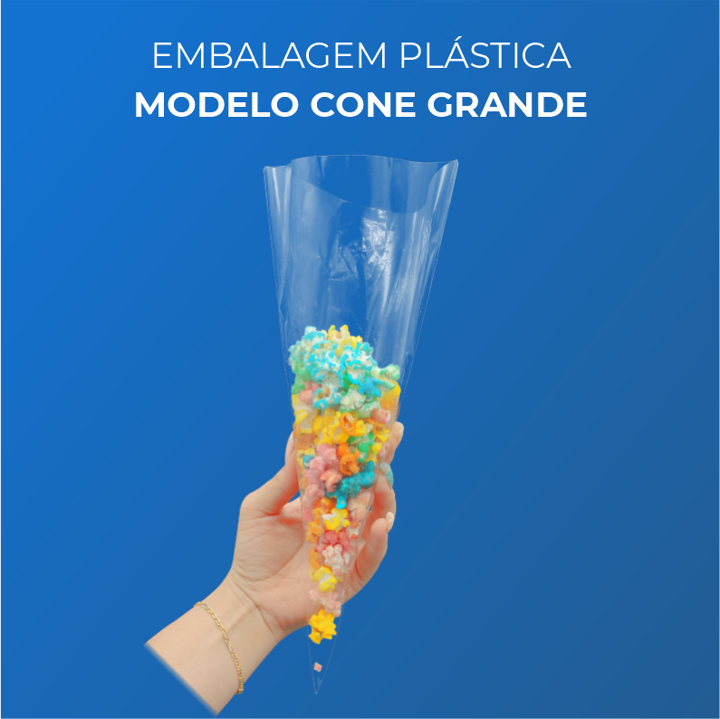 Embalagem Plásticas Modelo Cone Grande - 50 Unidades