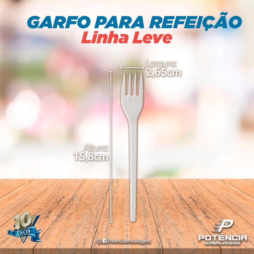 Garfo refeição transparente linha prática leve - Caixa 1000und