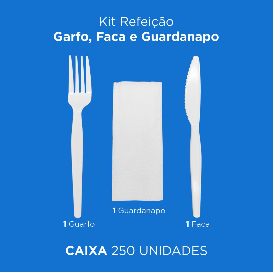 Kit Refeição - Garfo, Faca e Guardanapo - 250 Unidades