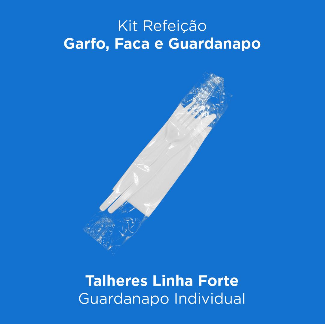 Kit Refeição - Garfo, Faca e Guardanapo - 500 Unidades