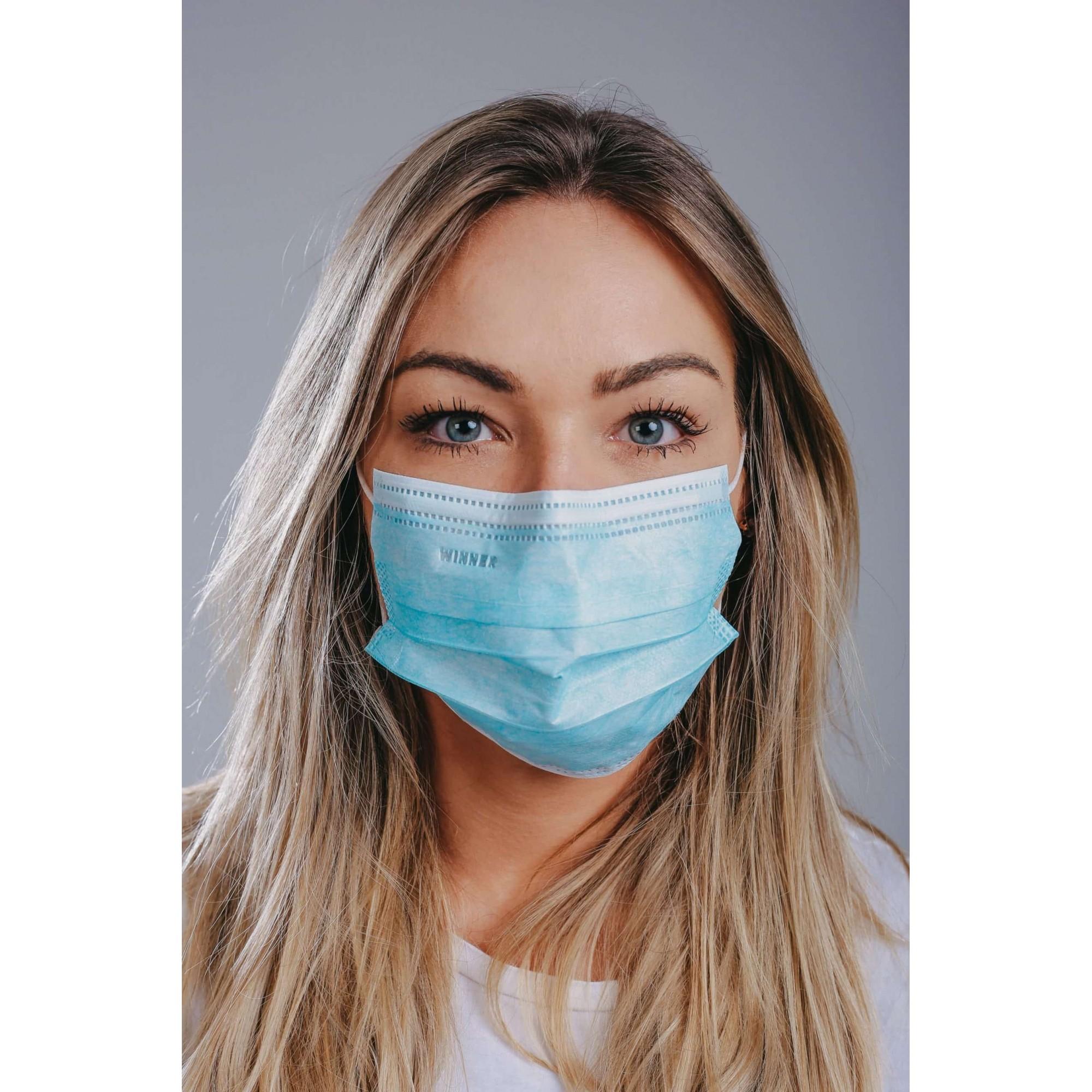 Máscaras Tripla Camadas com Elástico Descartável - 50 Unid.