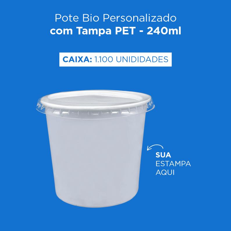 Pote Bio Personalizado com Tampa PET - 240ml