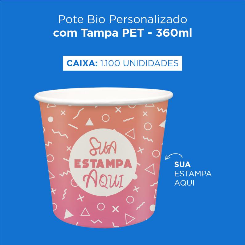 Pote Bio Personalizado com Tampa PET - 360ml