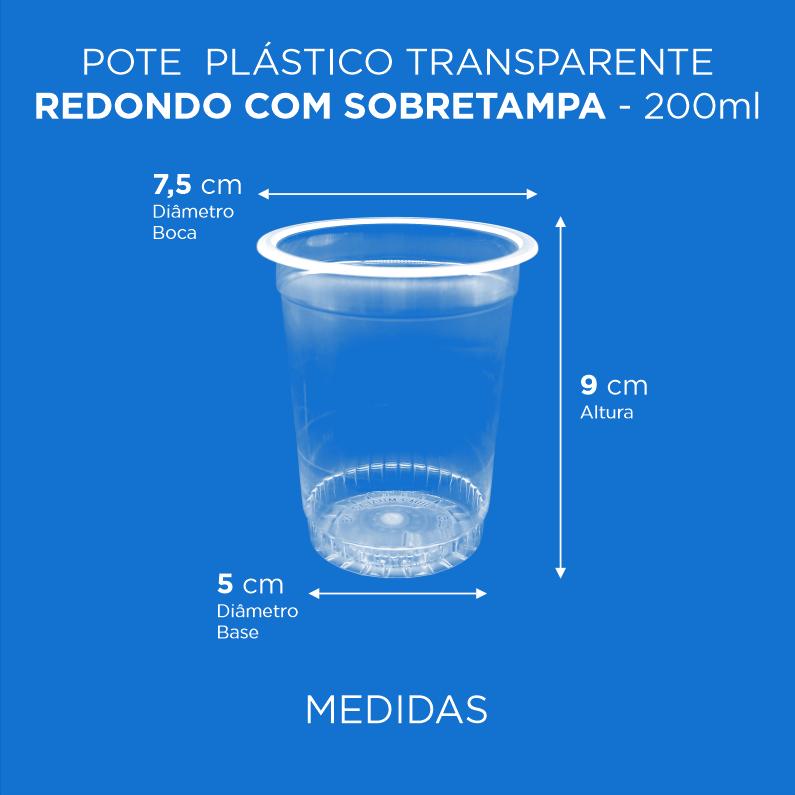 Pote Plástico Branco/Transp Redondo Com Sobretampa - 200ml Alto