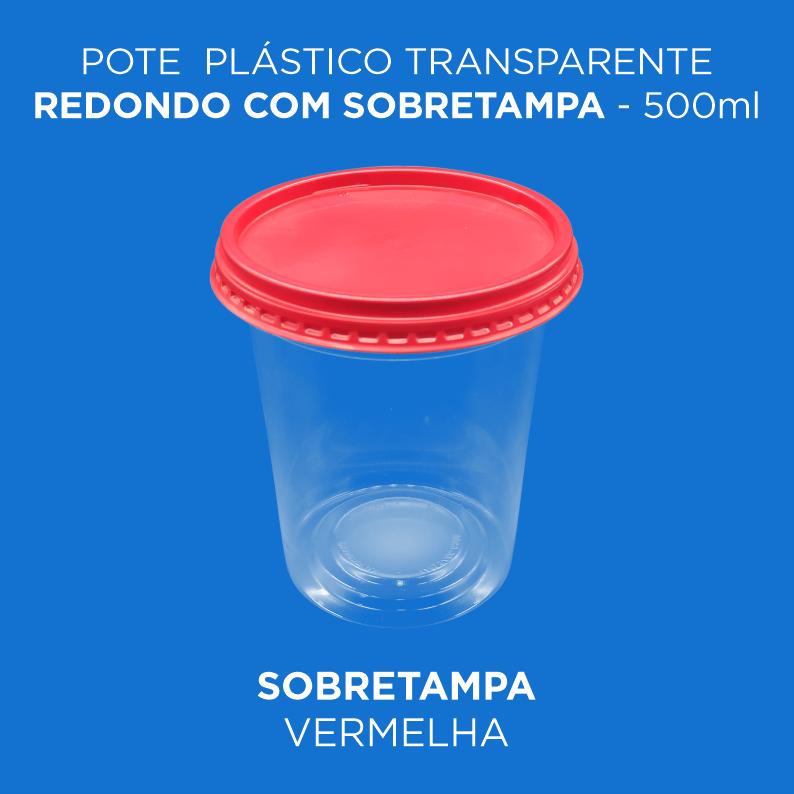 Pote Plástico Branco/Transp Redondo Com Sobretampa - 500ml Alto