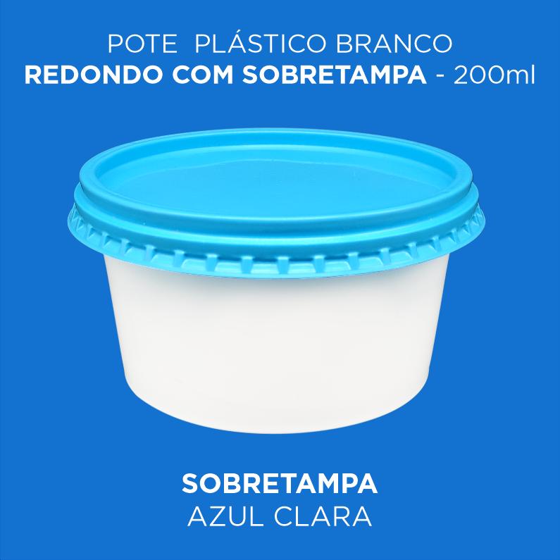 Pote Plástico Branco/Transp Redondo Com Sobretampa - 200ml Baixo