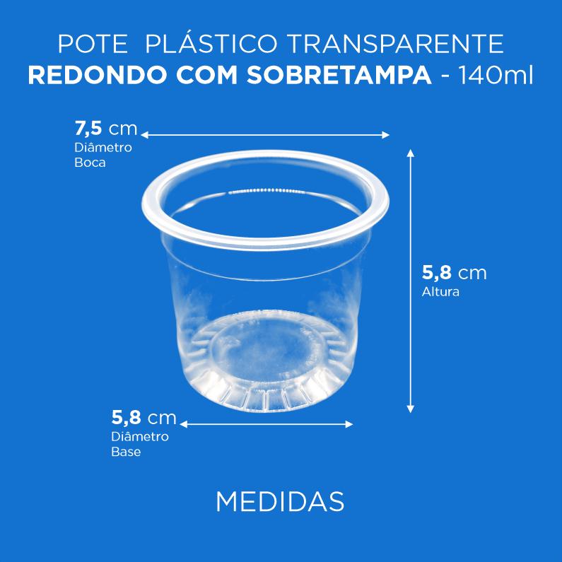 Pote Plástico Transparente Redondo Com Sobretampa - 140ml