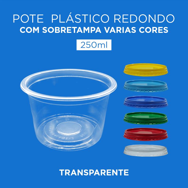 Pote Plástico Transparente Redondo Com Sobretampa - 250ml