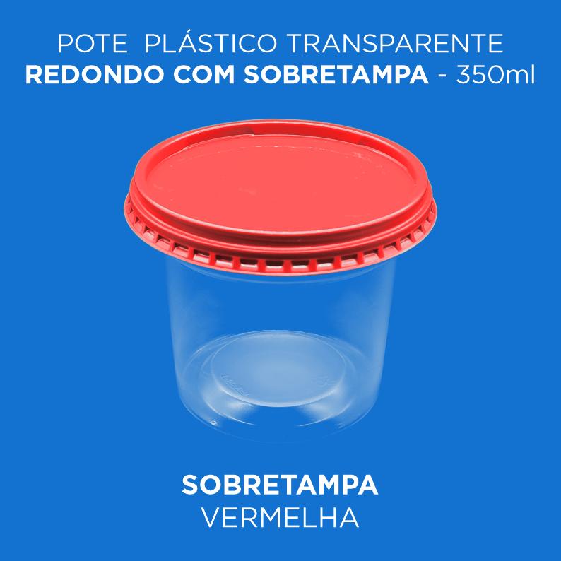Pote Plástico Transparente Redondo Com Sobretampa - 350ml
