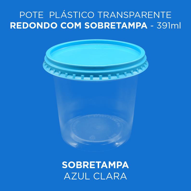 Pote Plástico Transparente Redondo Com Sobretampa - 391ml