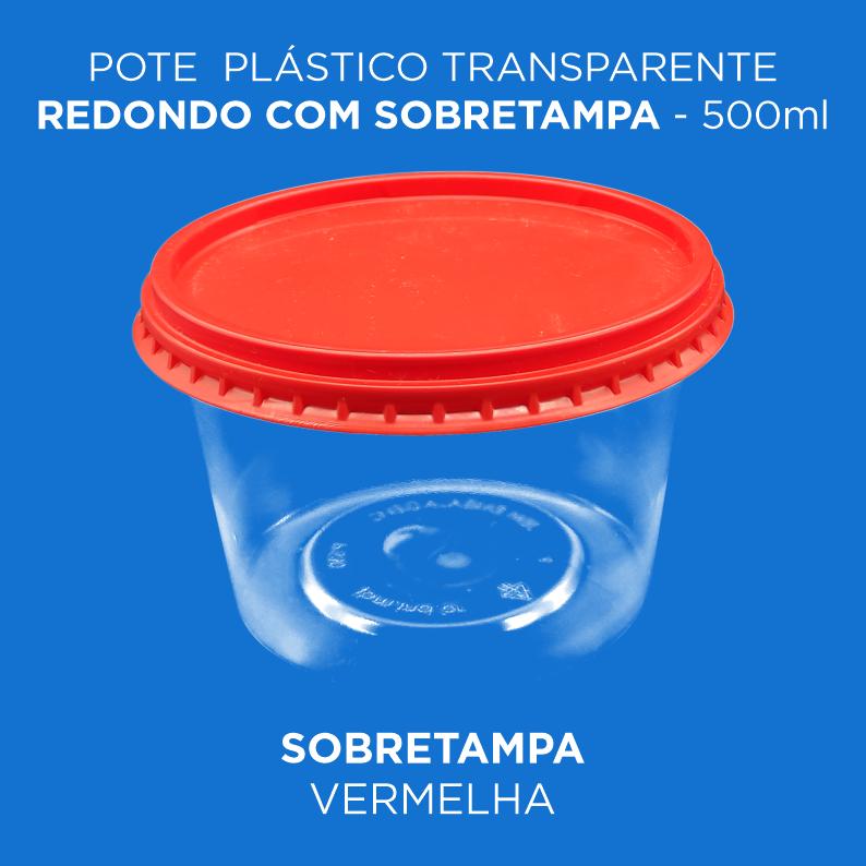 Pote Plástico Transparente Redondo Com Sobretampa - 500ml Baixo