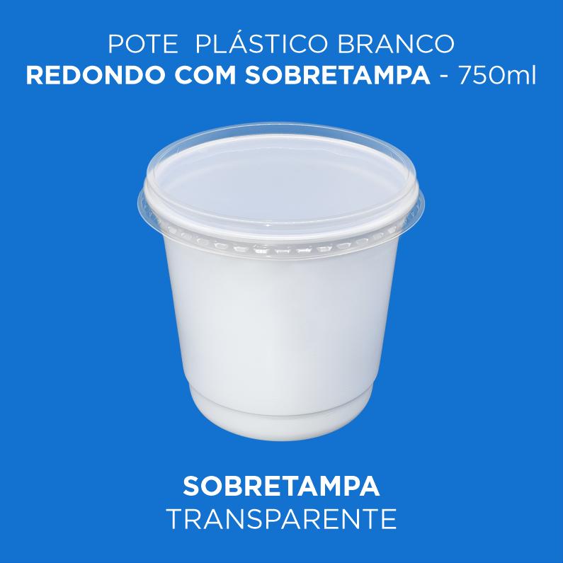 Pote Plástico Branco/Transp Redondo Com Sobretampa - 750ml Alto
