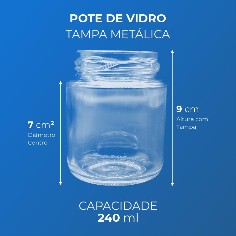 Pote de Vidro com Tampa Metálica Dourada ou Preta - 240 ml