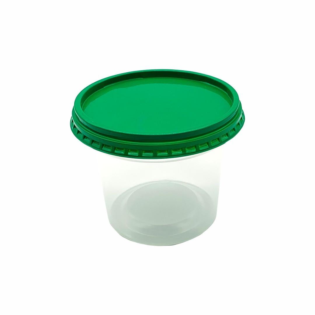 Pote Plástico Transparente Redondo Com Sobretampa - 500ml