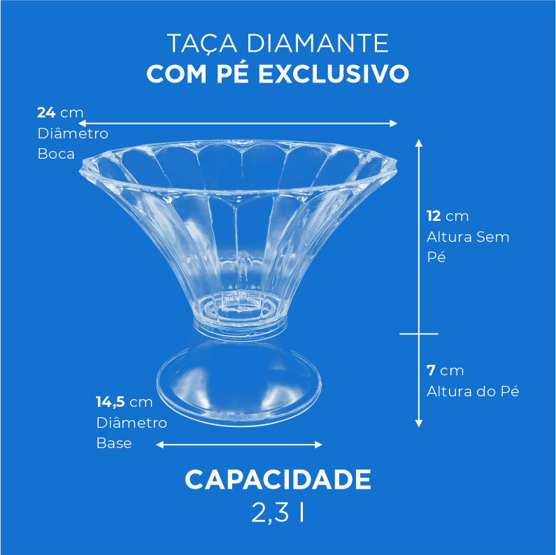 Taça Diamante com Pé Exclusivo - 2,3l