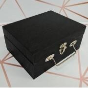 Maleta Porta-joias Pequeno Duplo Preto Texturizado