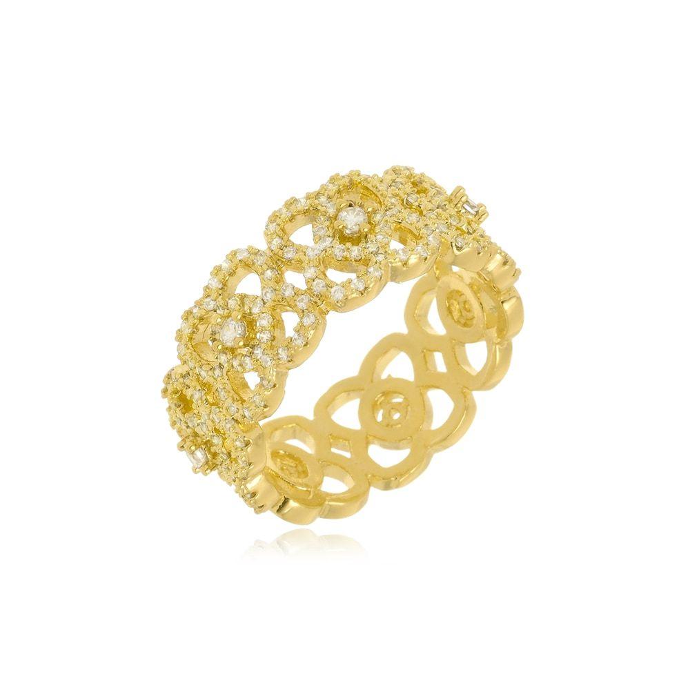 Anel Flores Cravejado de Zircônias Folheado a Ouro 18k