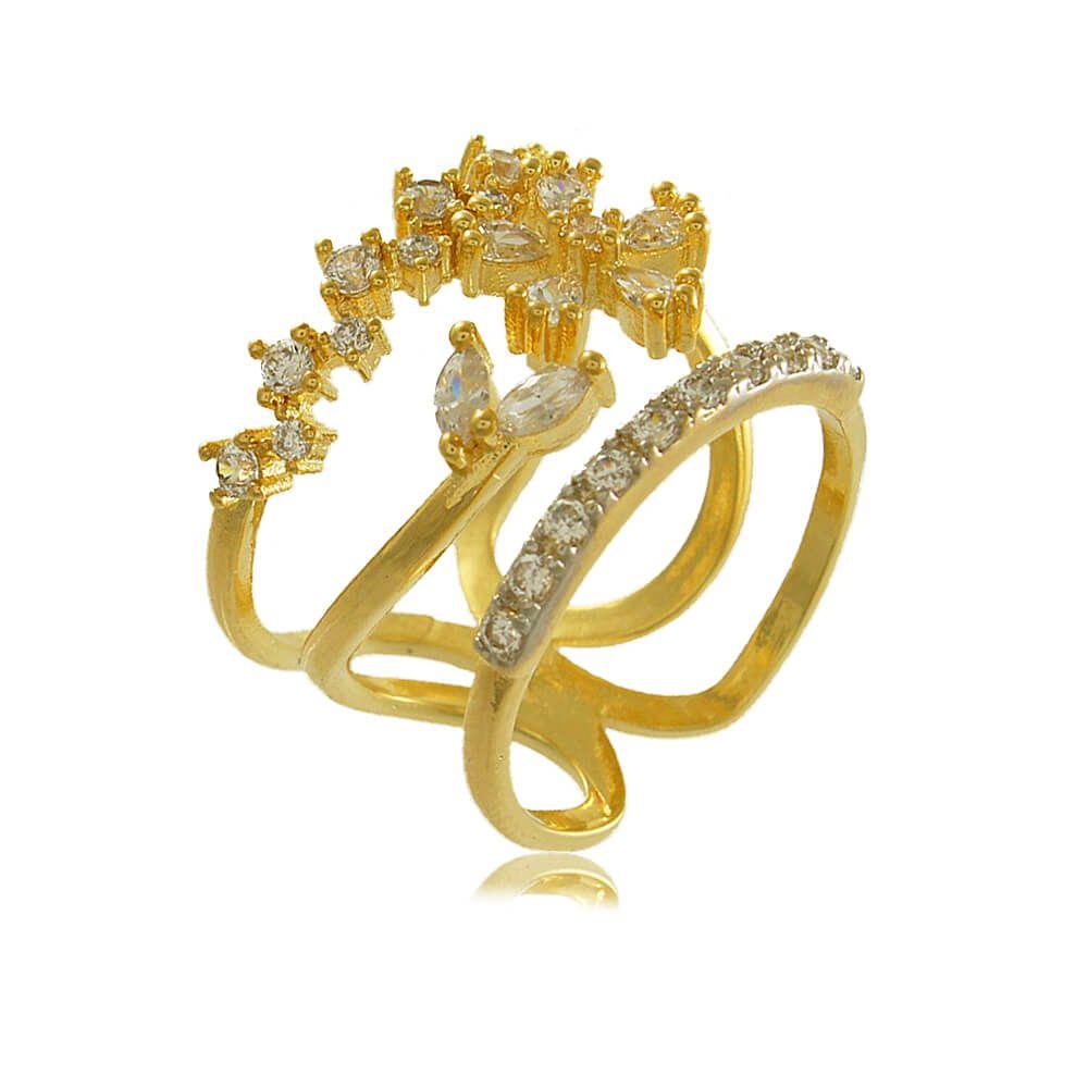 Anel Triplo Com Flor Cravejado de Zircônias Folheado a Ouro 18k
