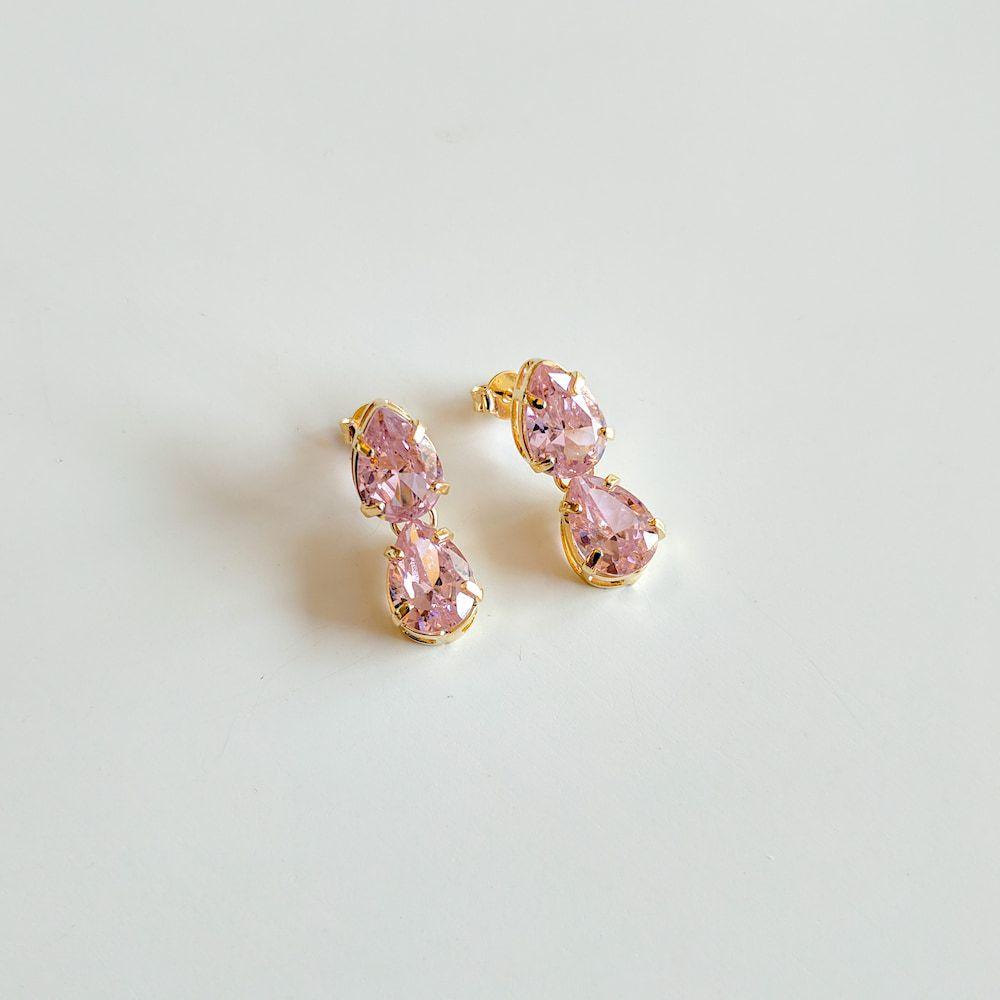 Brinco Com Duas Gotas de Zircônia Rosa Folheado a Ouro 18k