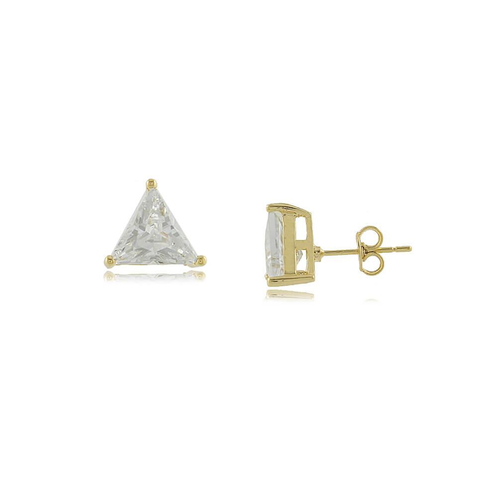 Brinco Com Triângulo de Zircônia Folheado a Ouro 18k