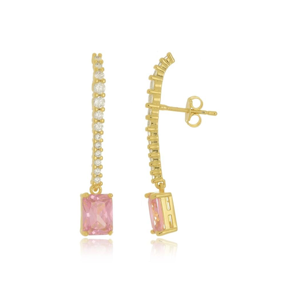 Brinco Com Zircônias e Pedra Rosa Folheado a Ouro 18k