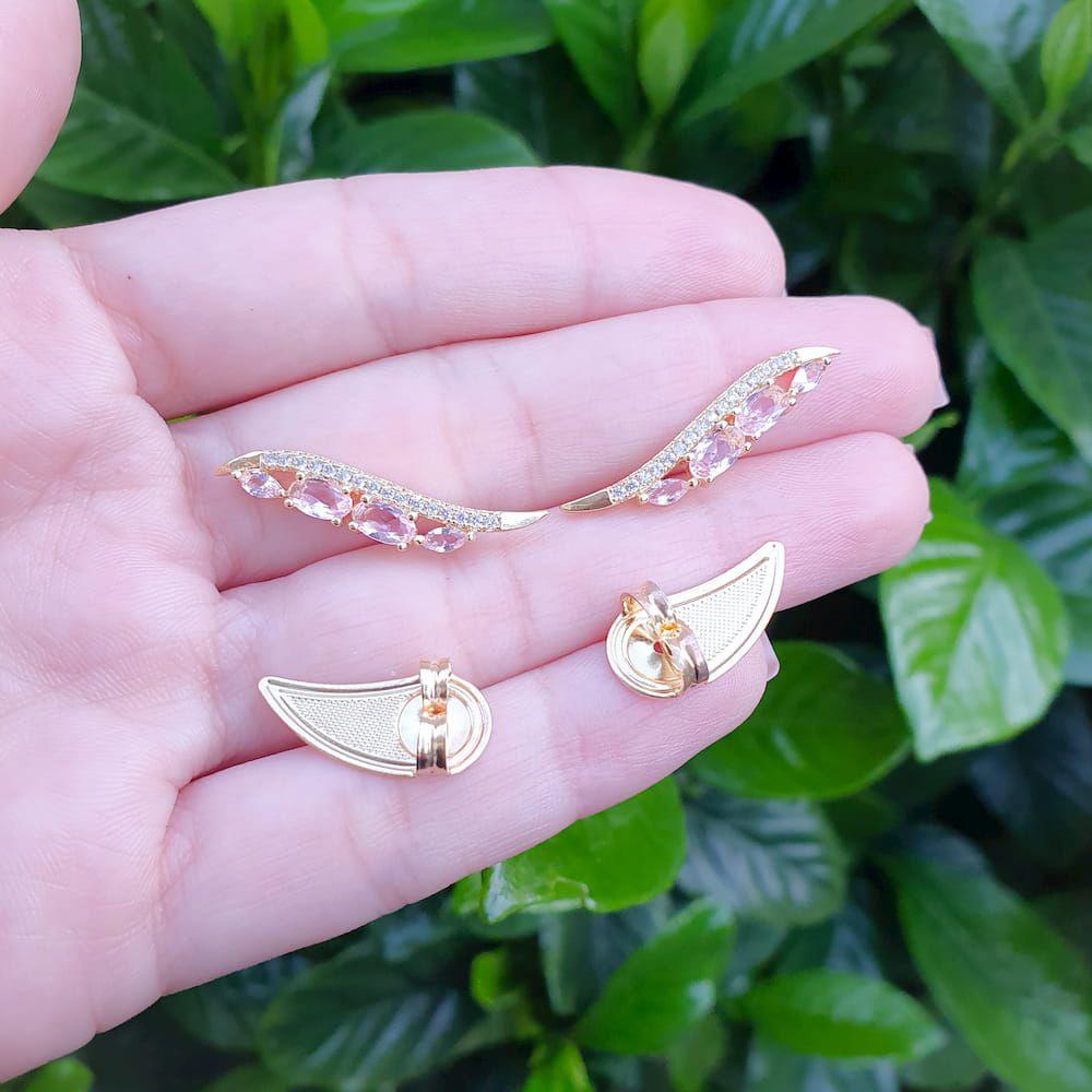 Brinco Ear Cuff Com Zircônias Cristal e Rosa Folheado a Ouro 18k