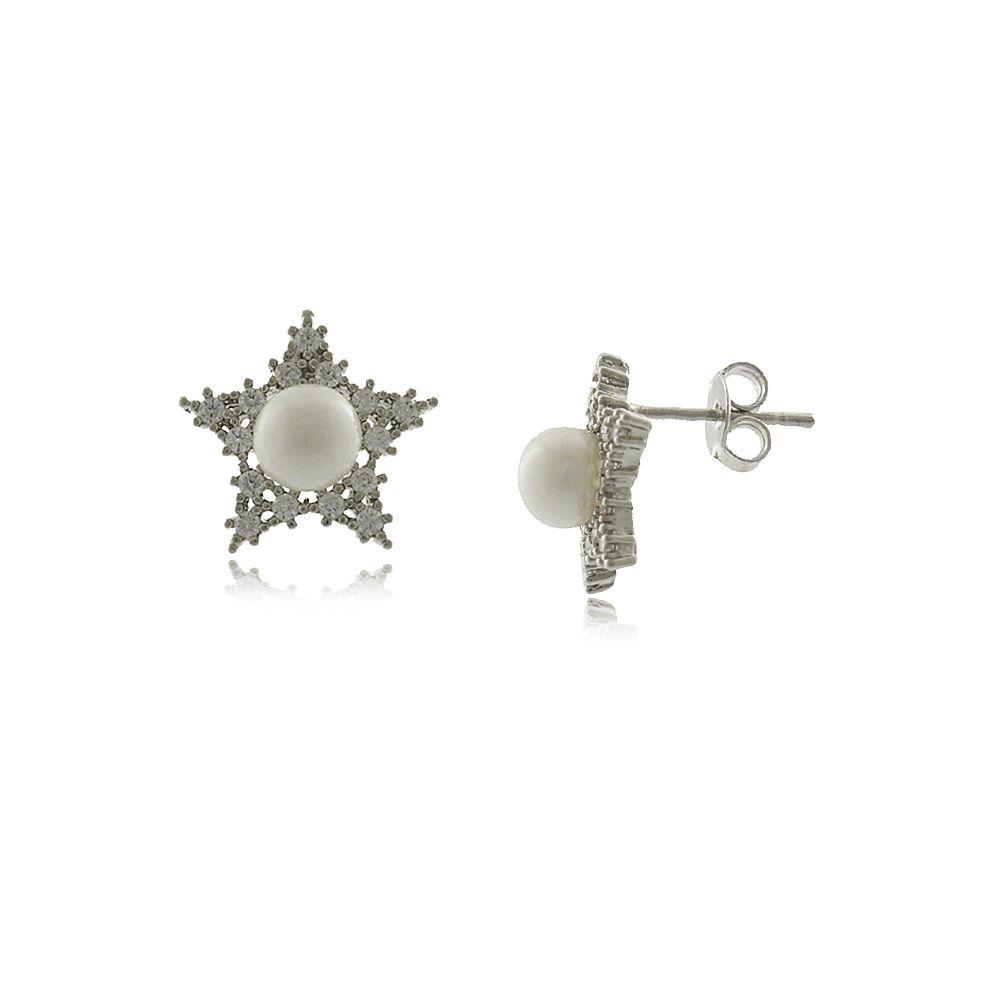 Brinco Estrela Com Micro Zircônias e Pérola Folheado em Ródio Branco