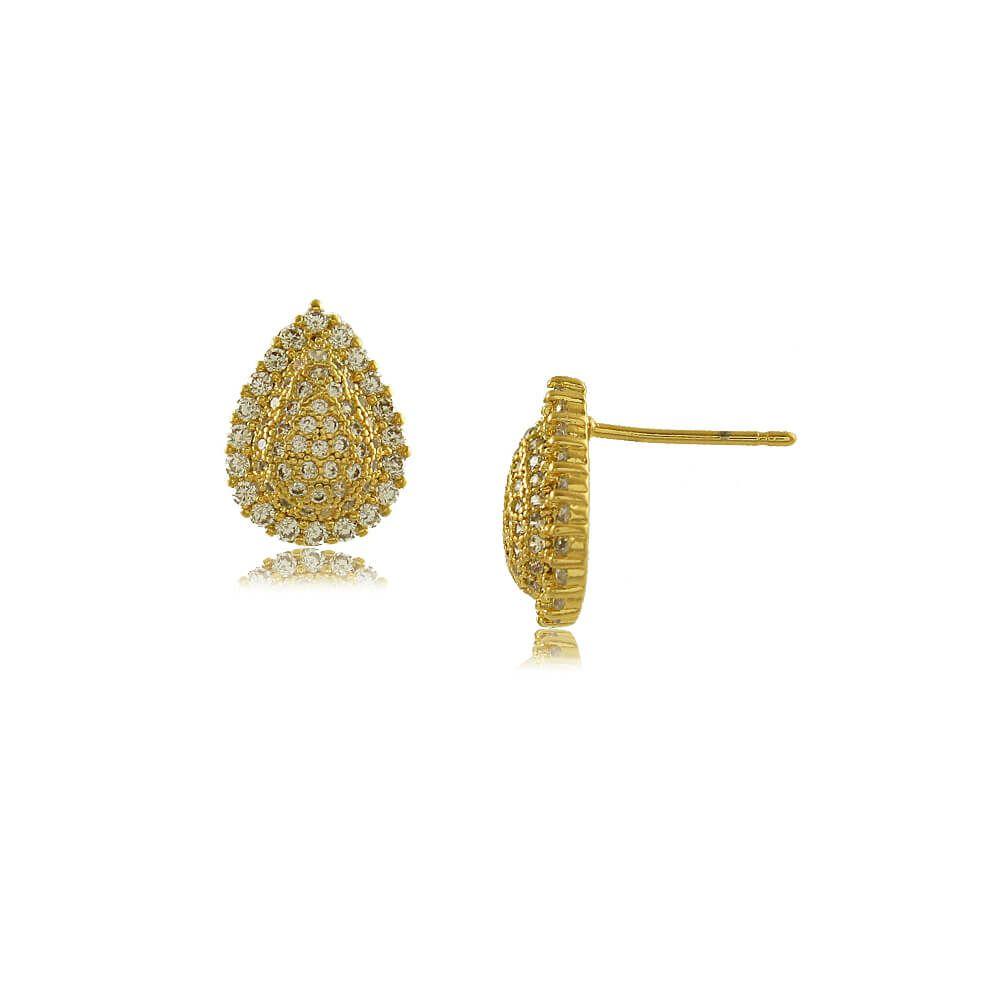 Brinco Gota Pequeno Cravejado de Zircônias Folheado a Ouro 18k