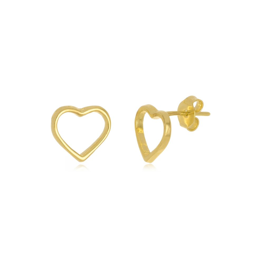 Brinco Pequeno de Coração Vazado Folheado a Ouro 18k