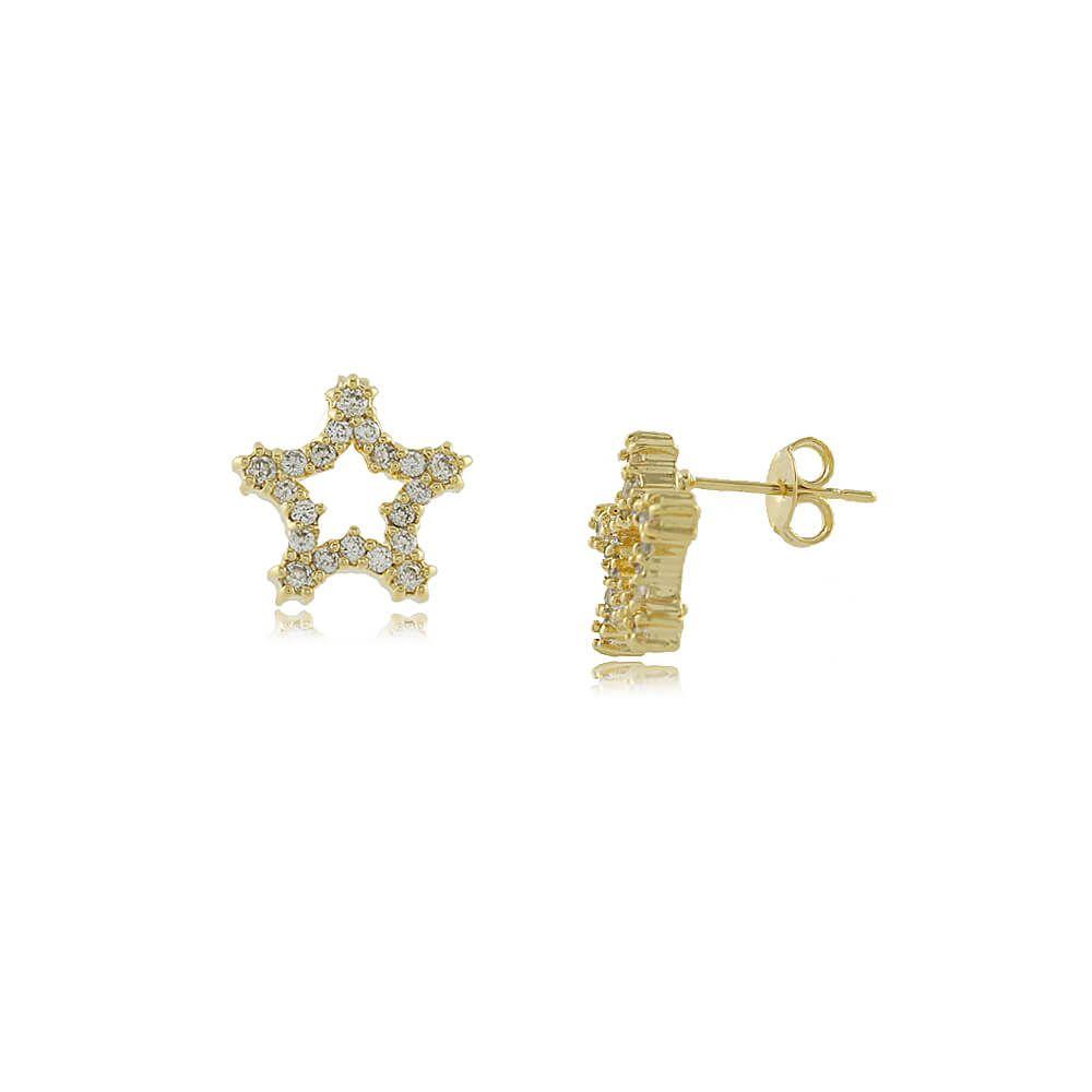 Brinco Pequeno Estrela Com Zircônias Folheado a Ouro 18k