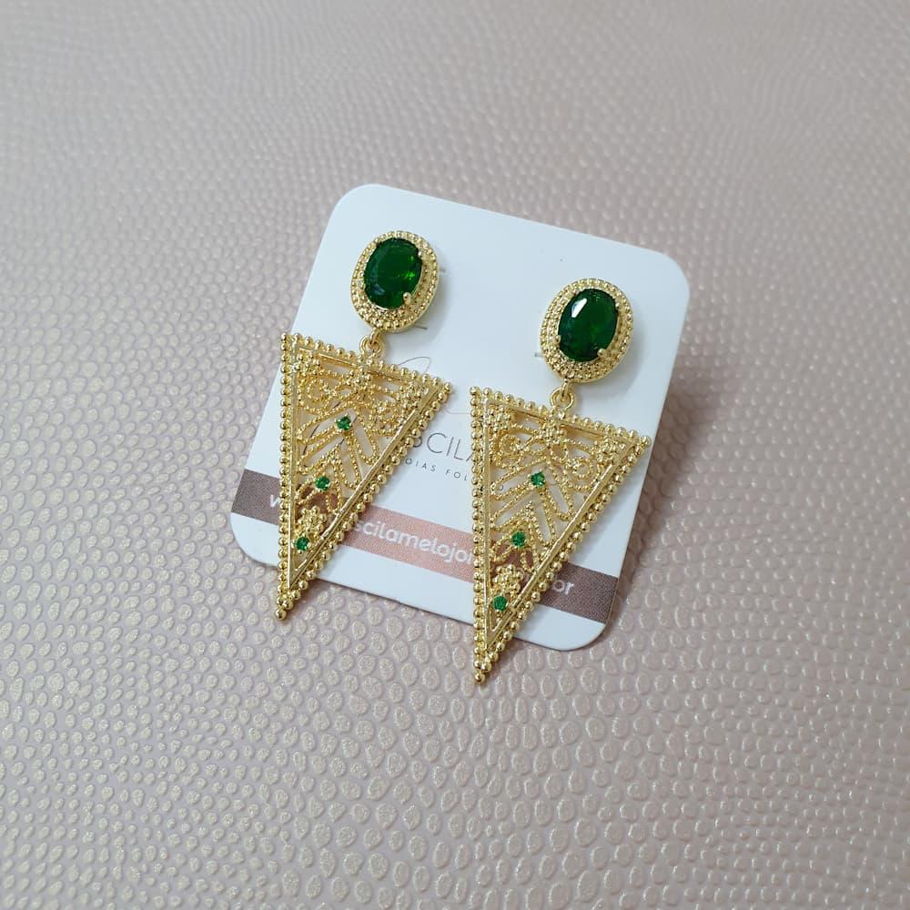 Brinco Triangular Com Zircônia Verde Folheado a Ouro 18k
