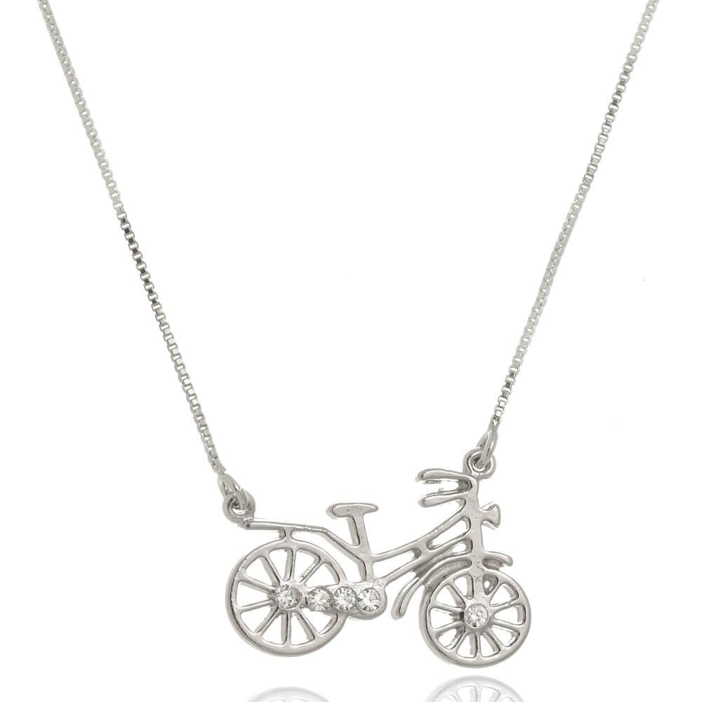 Colar Bicicleta Com Zircônias Folheado em Ródio Branco