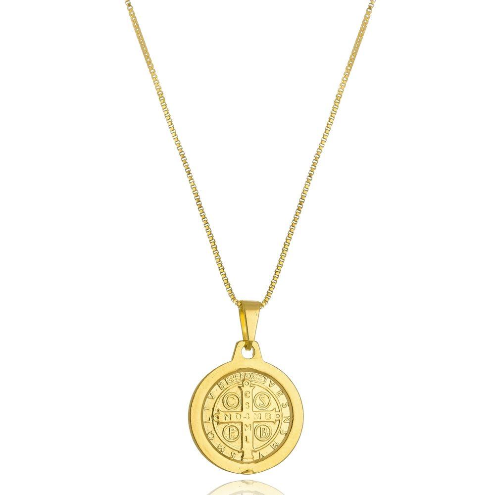 Colar Com Medalha de São Bento Folheado a Ouro 18k