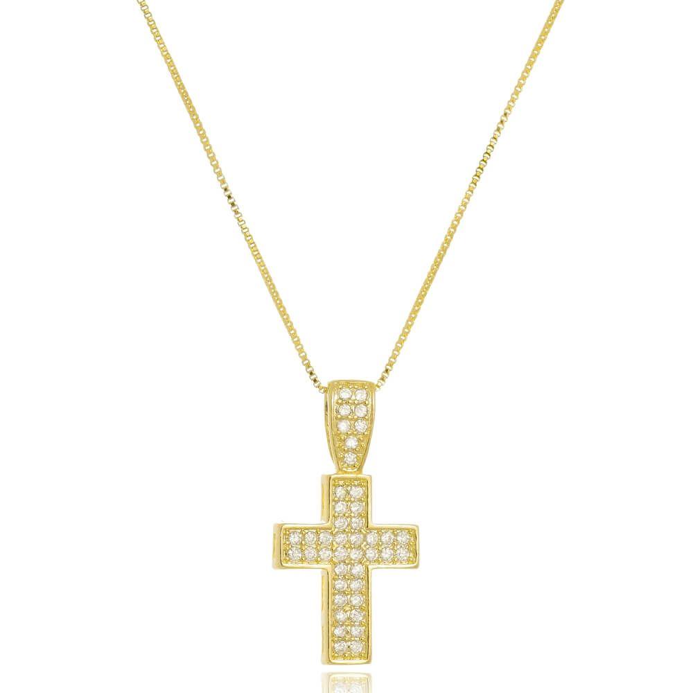 Colar Com Pingente Cruz Cravejado de Zircônias Folheado a Ouro 18k