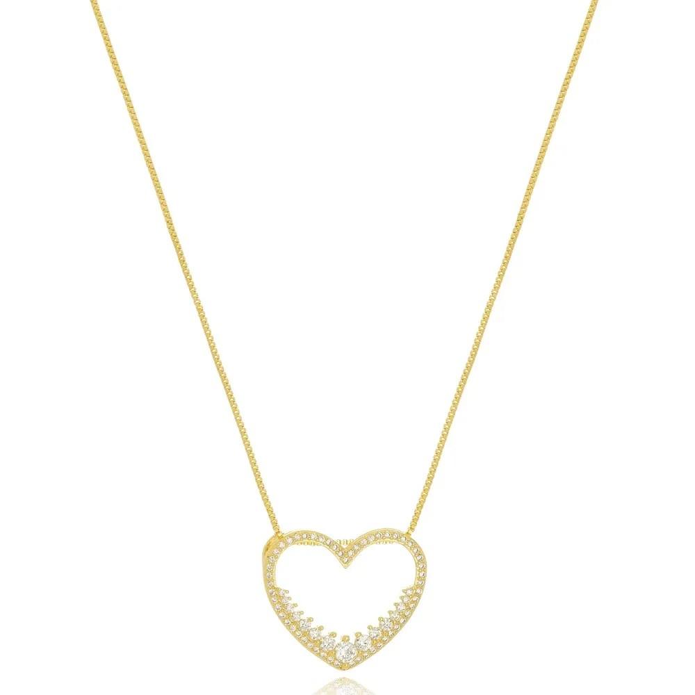 Colar Coração em Zircônias Vazado Folheado a Ouro 18k