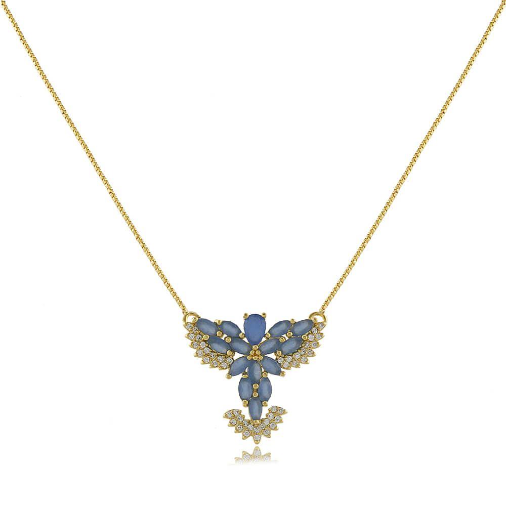 Colar Divino Espírito Santo Com Zircônias Azuis Folheado a Ouro 18k