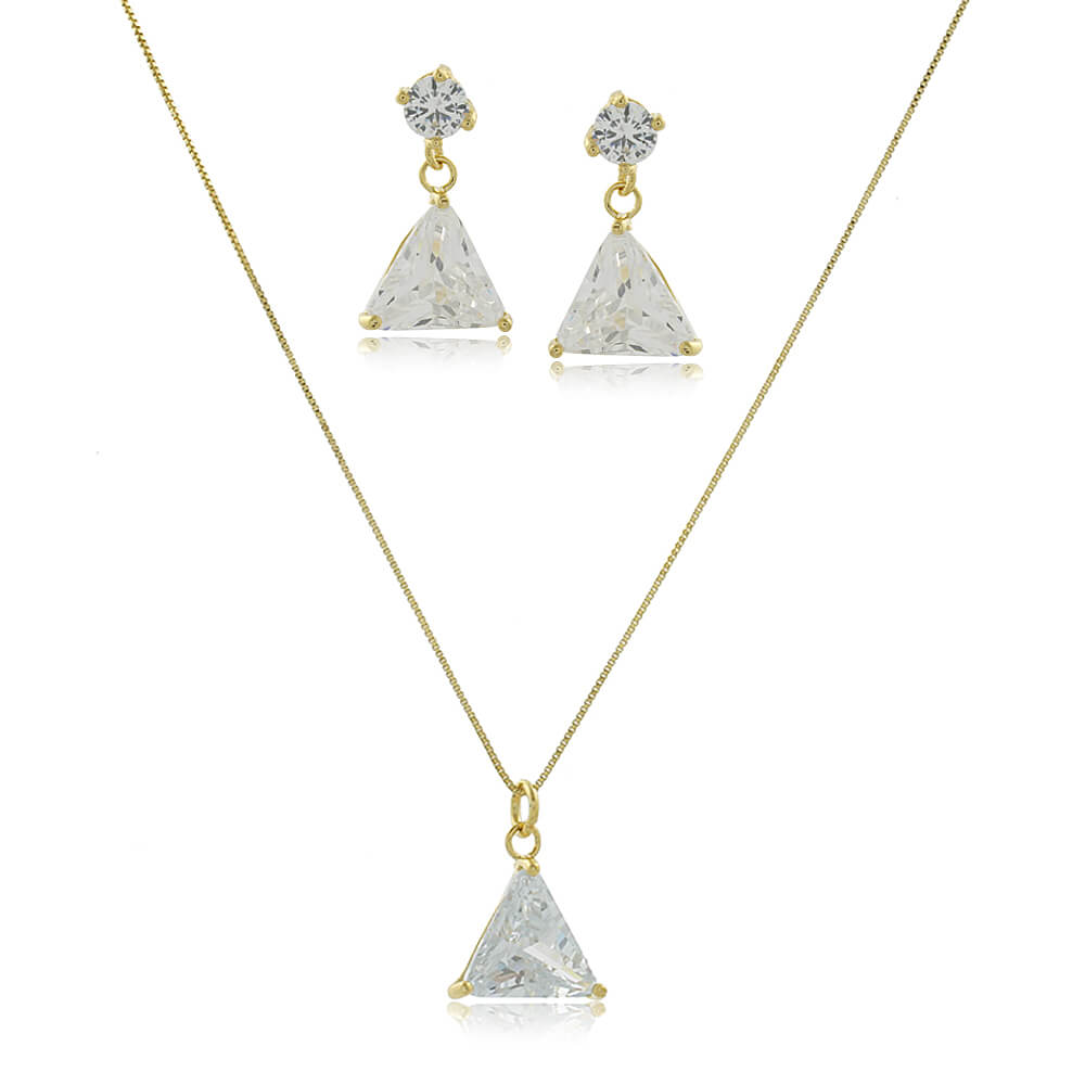 Conjunto Com Triângulo de Zircônia Folheado a Ouro 18k