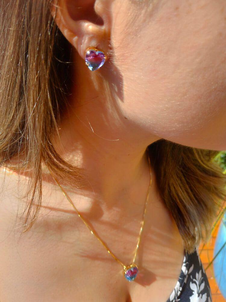 Conjunto Coração Rainbow Rosa e Azul Folheado a Ouro 18k