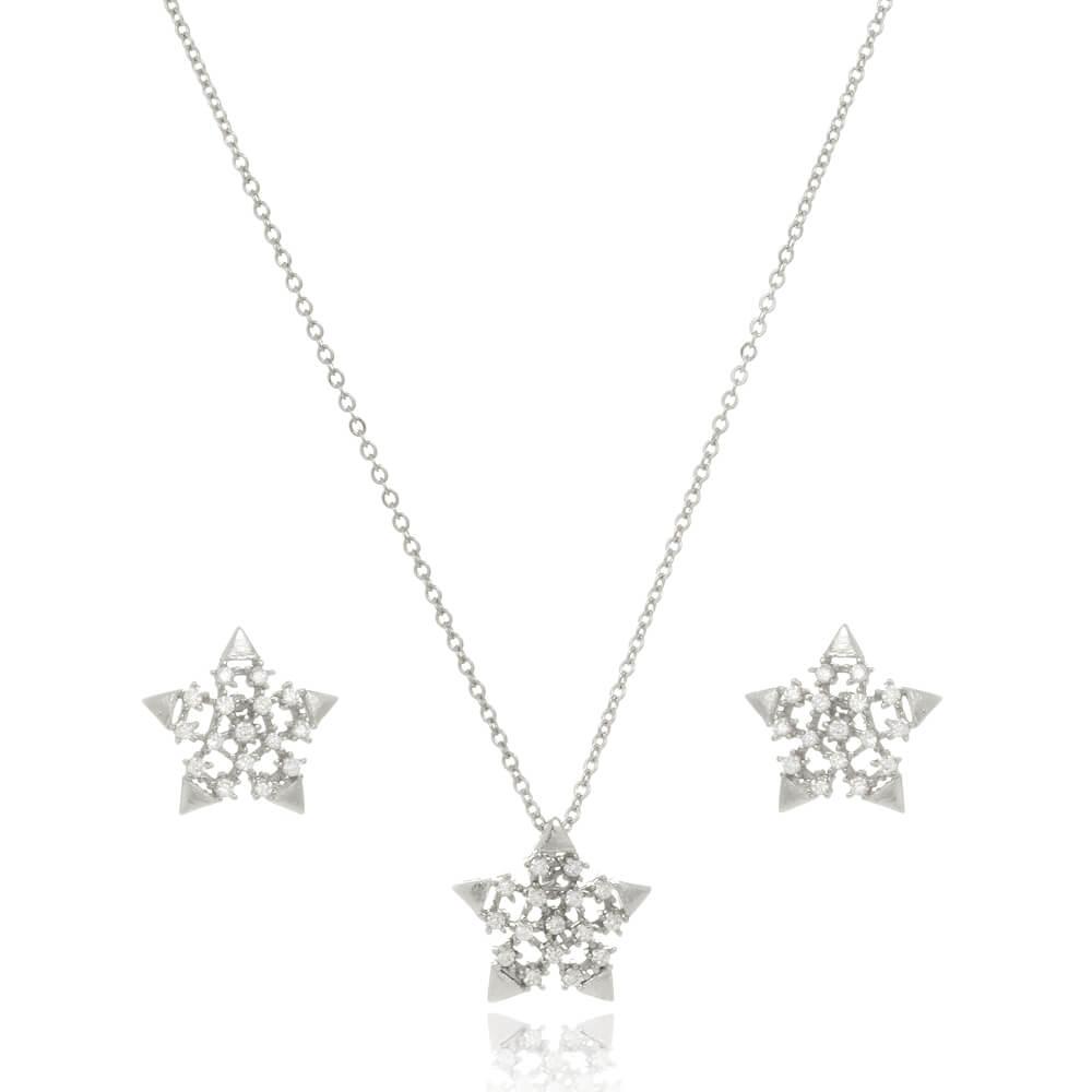 Conjunto de Estrela Com Zircônias Folheado em Ródio Branco