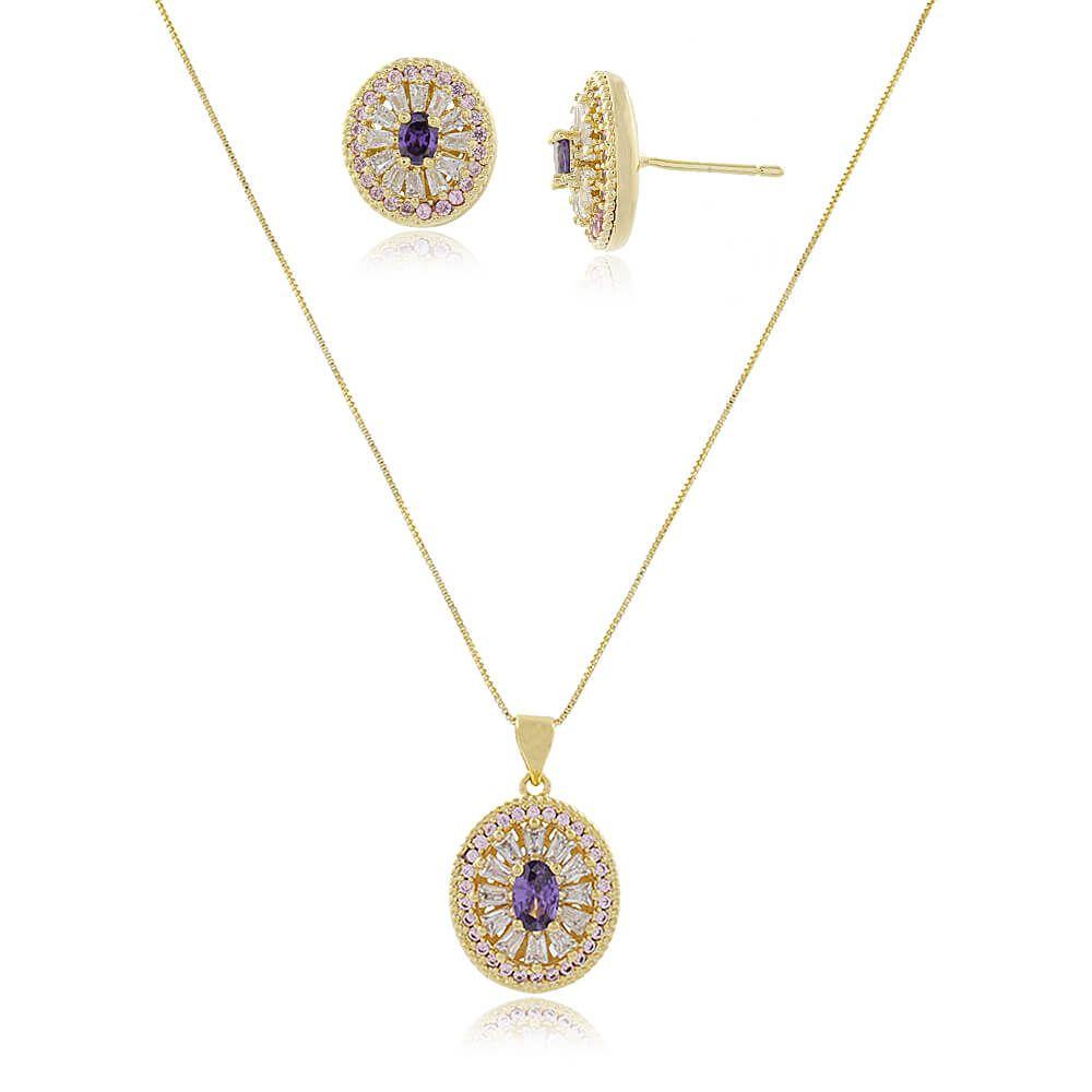Conjunto Oval Com Zircônias Cristal, Rosa e Lilás Folheado a Ouro 18k