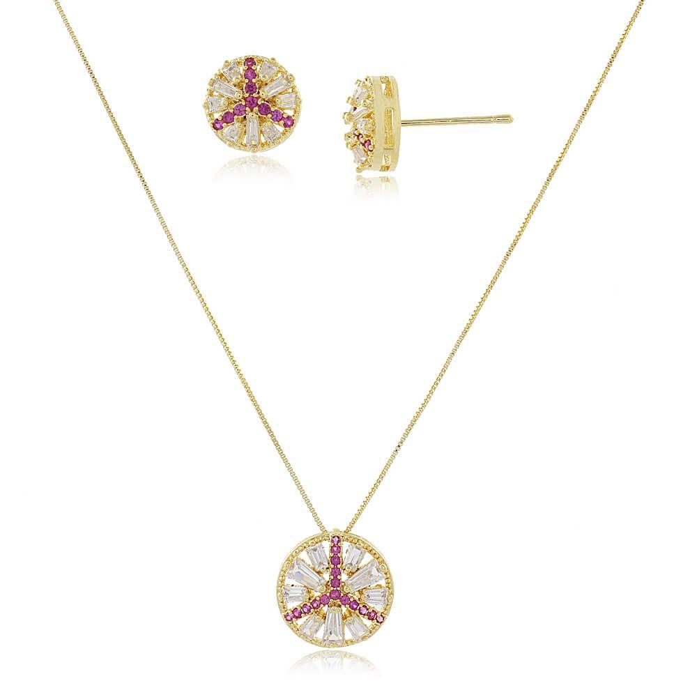 Conjunto Redondo Com Zircônias Cristal e Rosa Folheado a Ouro 18k
