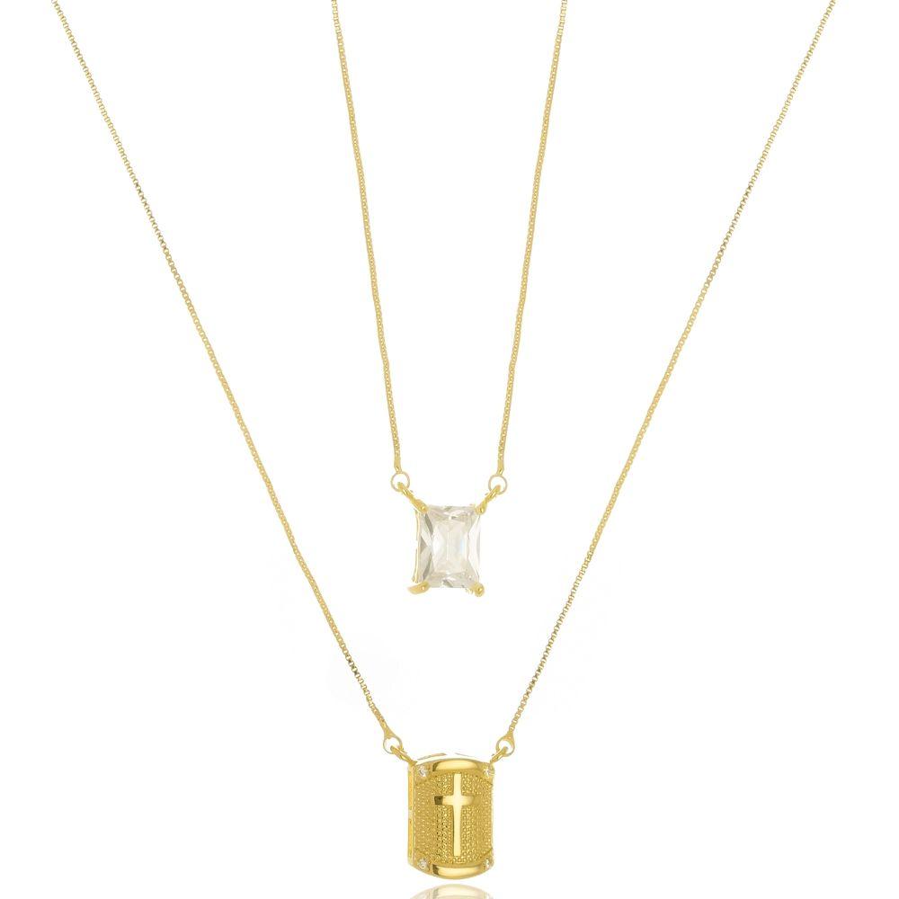 Escapulário de Cruz e Pedra de Zircônia Cristal Folheado a Ouro 18k